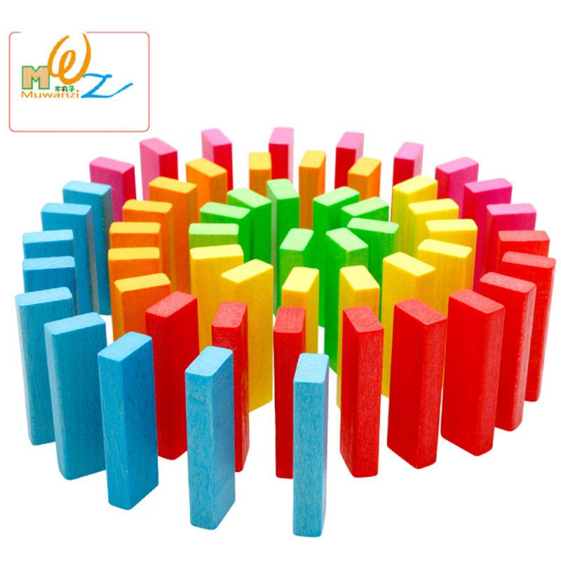 mwz seis colores arco iris grande de alta pila de madera nios educativos bloques de construccin