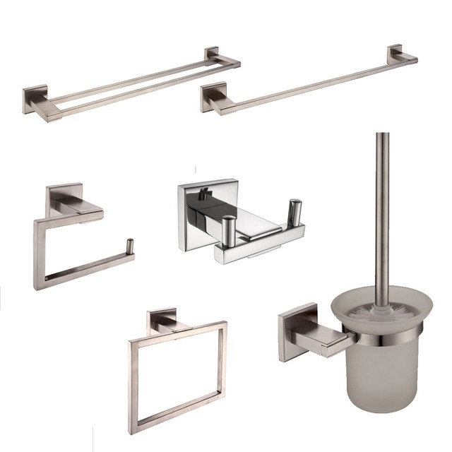 Sus 304 Stainless Steel Bathroom Hardware Set Nickel Brushed Toothbrush Holder Paper Towel Bar