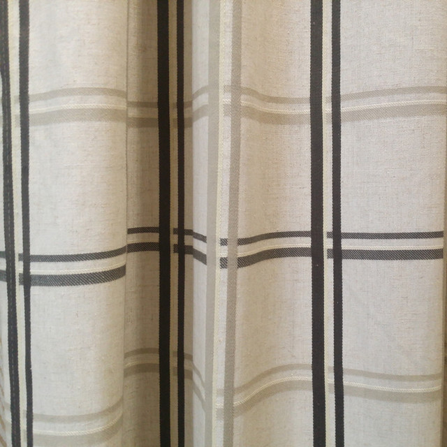Contemporary Check Linen Polyester Blend Modern Panels Black Grey Beige Drapery Curtain Fabrics Width 280 Cm By Meter
