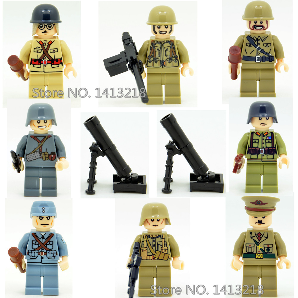 8pcs World War 2 Soldier Military Weapon SWAT Gun CS Marine Corps German Army Building Blocks Boy Educational Toy children Gift