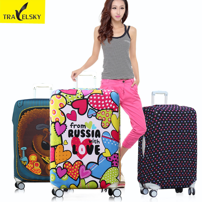 Elastic Luggage Cover for 20inch 32inch suitcase elastic polyester material with four kinds 1 pcs free