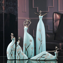 Jingdezhen Ceramic Miss Ballet Ceramic Figures Furnishing Articles Fashion Porcelain Ornament Decoration Blue Diamond Hostess