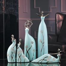 Jingdezhen Ceramic Miss Ballet Ceramic Figures Furnishing Articles Fashion Porcelain Ornament Decoration Blue Diamond Hostess