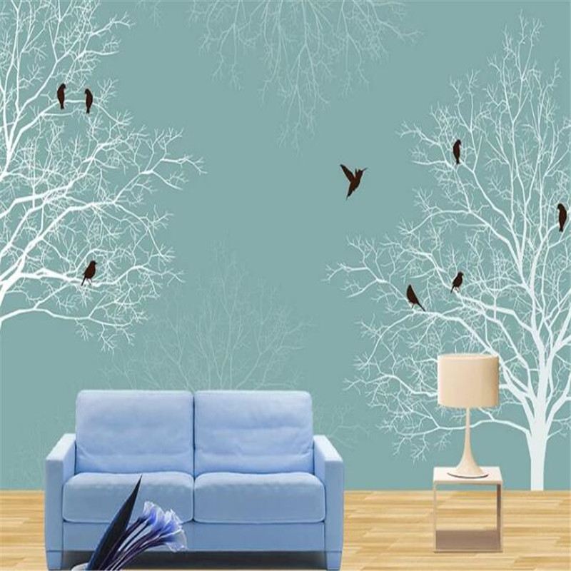 3D Custom Size Wallpapers Roll White Tree Wall Papers Home Decor Wall Murals Black Bird for Living Room Nature Landscape Woods custom photo size wallpapers 3d murals for living room tv home decor walls papers nature landscape painting non woven wallpapers