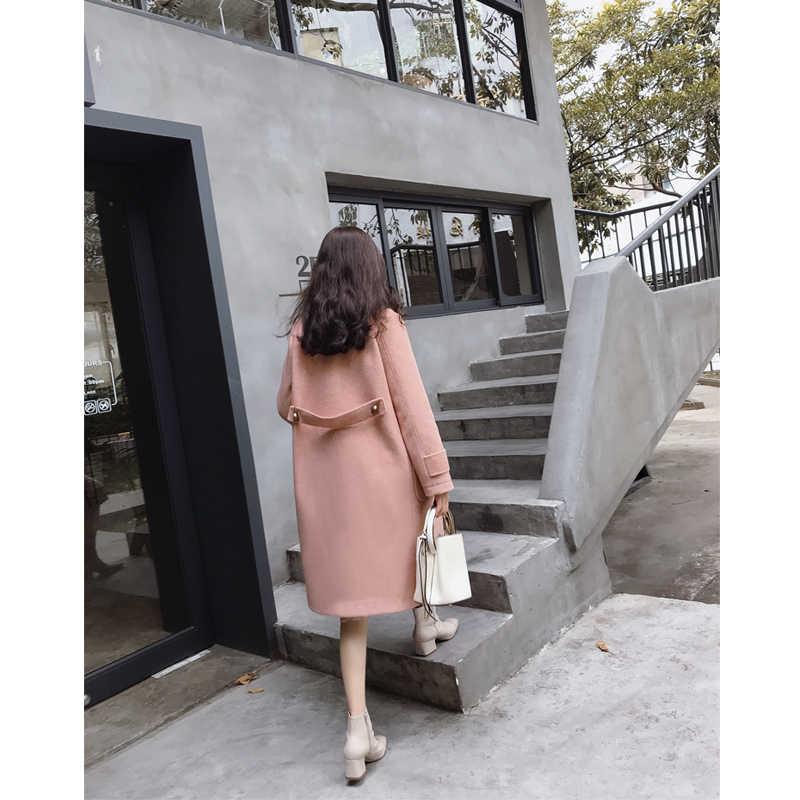 MISHOW 2019 herbst winter woolen mantel mode kausalen frauen turndown kragen mid-länge dicken rosa mantel MX18D9659