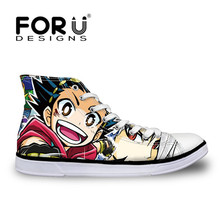 FORUDESIGNS Men's Vulcanity Shoes Anime Beyblade Burst Evolution Print Casual Flats Sneakers for Boys High Top Teenagers Shoes