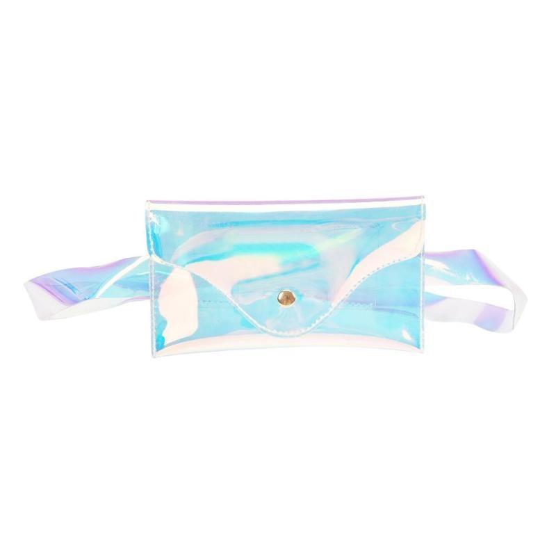 Women Crossbody Messenger Shoulder Handbag PVC Laser Transparent Waist Packs Clutch Purse Beach Bag