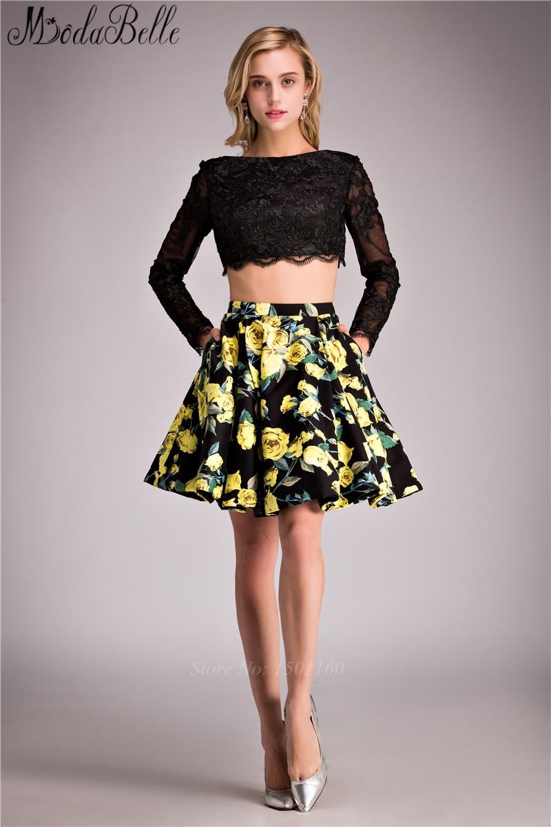 Black dress teenager - Above Knee 2 Piece Black Lace Short Prom Dresses 2016 Long Sleeve Pinted Skirt For Teens Vestido De Festa Curto