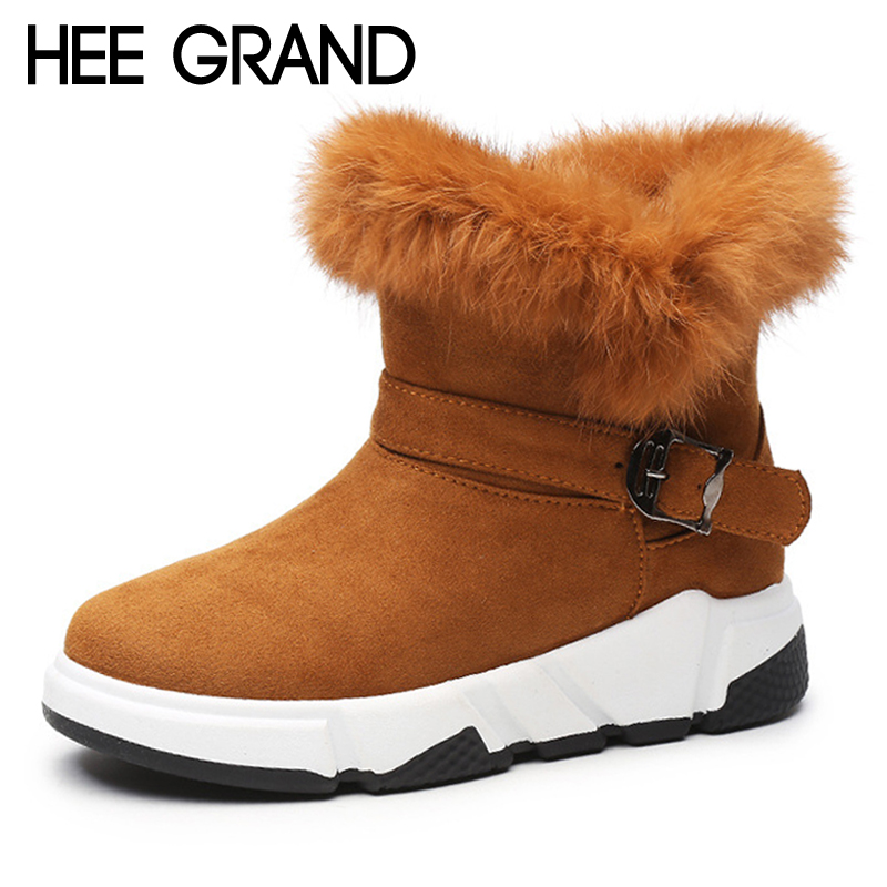 HEE GRAND Faux Fur Suede Winter Rubber Women Ankle Boots Casual Solid Creepers Shoes Woman Fashion Platform Women Shoes XWX6971 hee grand inner increased winter ankle boots warm fringe fashion platform women snow boots shoes woman creepers 3 colors xwx6180