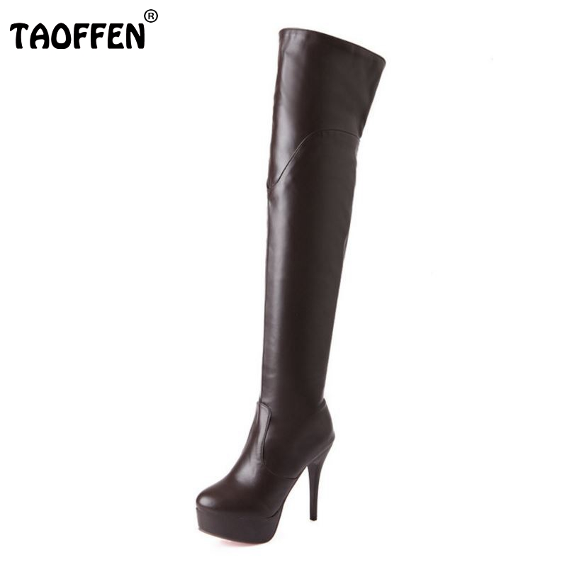 Women High Heel Over Knee Boots Ladies Botas Equestrian Militares Fashion Long Boot Warm Winter Footwear Shoes Size 32-43 pritivimin fn81 winter warm women real wool fur lined shoes ladies genuine leather high boot girl fashion over the knee boots