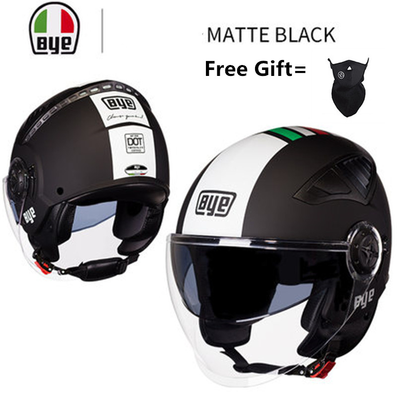Dual Visors Motorcycle 3//4 Open Face Half Helmet Matte Black XXL