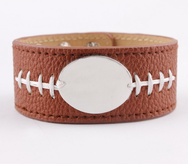 2018 Personalized Brown Leather Baseball Sport Bracelets Monogram Blank Snap Button Cuff Bracelets Bangles Women Men Jewelry золотые серьги по уху