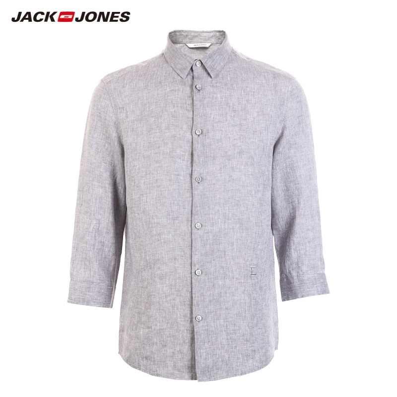 Мужская рубашка JackJones, Базовая рубашка из 100% льна с рукавом три четверти, 219131507