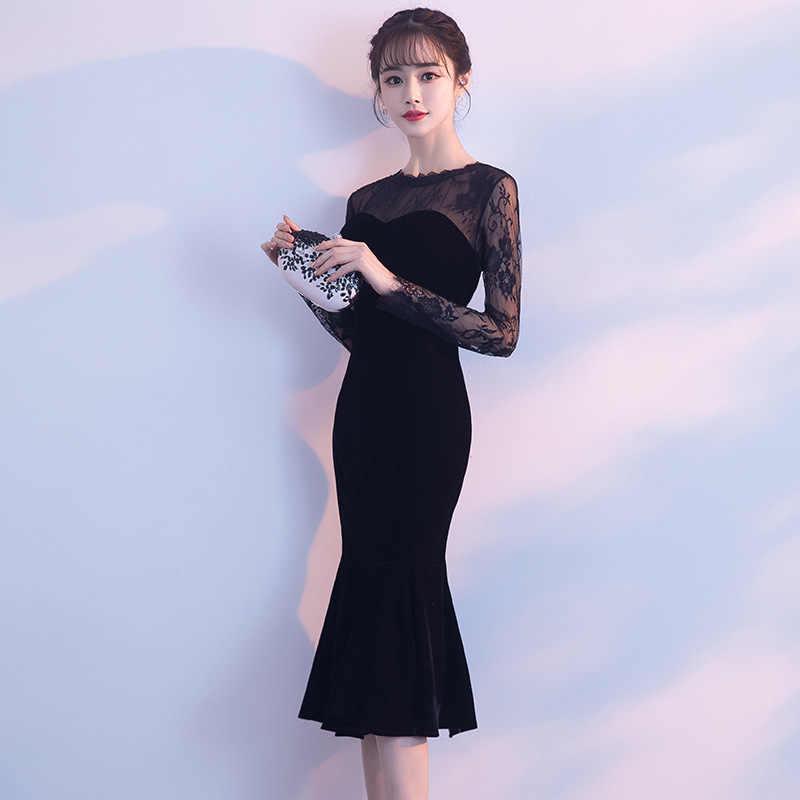 Vestido De Noche De Dama De Honor Cheongsam Para Fiesta Oriental China Corto De Encaje Negro Vestidos Elegantes Para Banquete De Celebridades