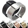 18 MM 20 MM cinta de aço inoxidável preto prata ouro rosa relógio acessórios cinta de malha de metal