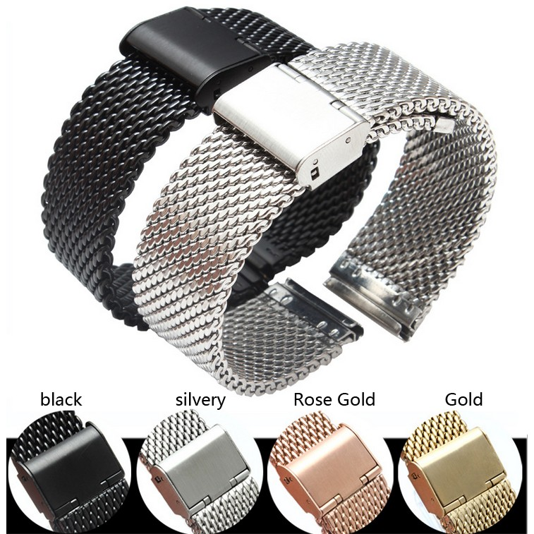 18MM 20MM stainless steel strap gold silver black rose metal mesh watch accessories strap 18mm 20mm 22mm 24mm watchbands hot silver mixed rose gold stainless steel metal strap bracelets quartz watch band fast delivery