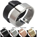 18MM 20MM stainless steel strap gold silver black rose metal mesh watch accessories strap