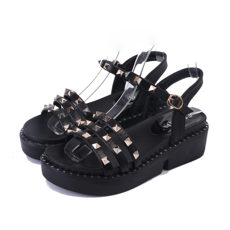 Women Sandals Shoes 2017 Summer Shoes Woman Gladiator Wedges Cool Fashion Rivet Platform Female Ladies Casual Shoes Open Toe 2017 summer new rivet wedges sandals creepers women high heel platform casual shoes silver women gladiator sandals zapatos mujer