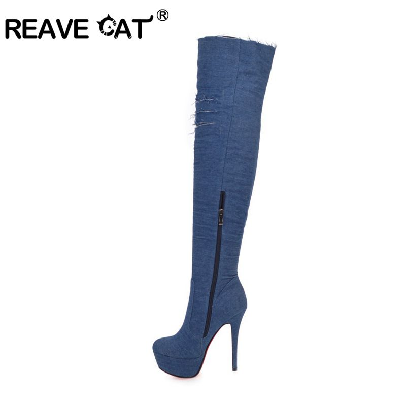 REAVE CAT 2018 Platform Thigh high Denim Boots Women Spring Autumn Boots High Heels Shoes Round Toe Over the knee Boots A918 spring women new rivets solid black super high thin heels high platform round toe gladiator over the knee boots free shipping