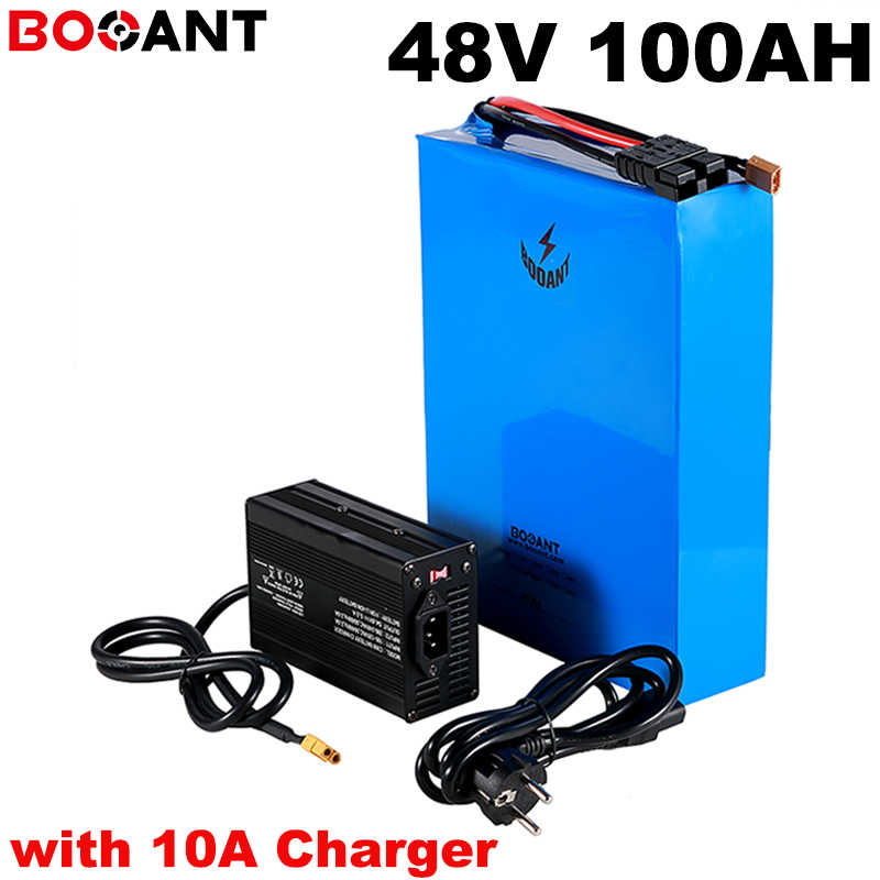 High capacity, Power 4500w 100ah 48v electric bike battery for Samsung Panasonic LG 18650 cell 48v lithium battery +10A Charger