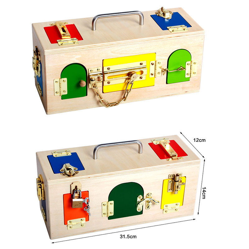 Upgrade Newest Montessori Color Locking and Unlocking Wooden Lock Activity Box Montessori Materials Educational Wooden Kid Toy montessori materials colorful locks box toys for kid children preschool educational toy memory game wooden montessori lock tool