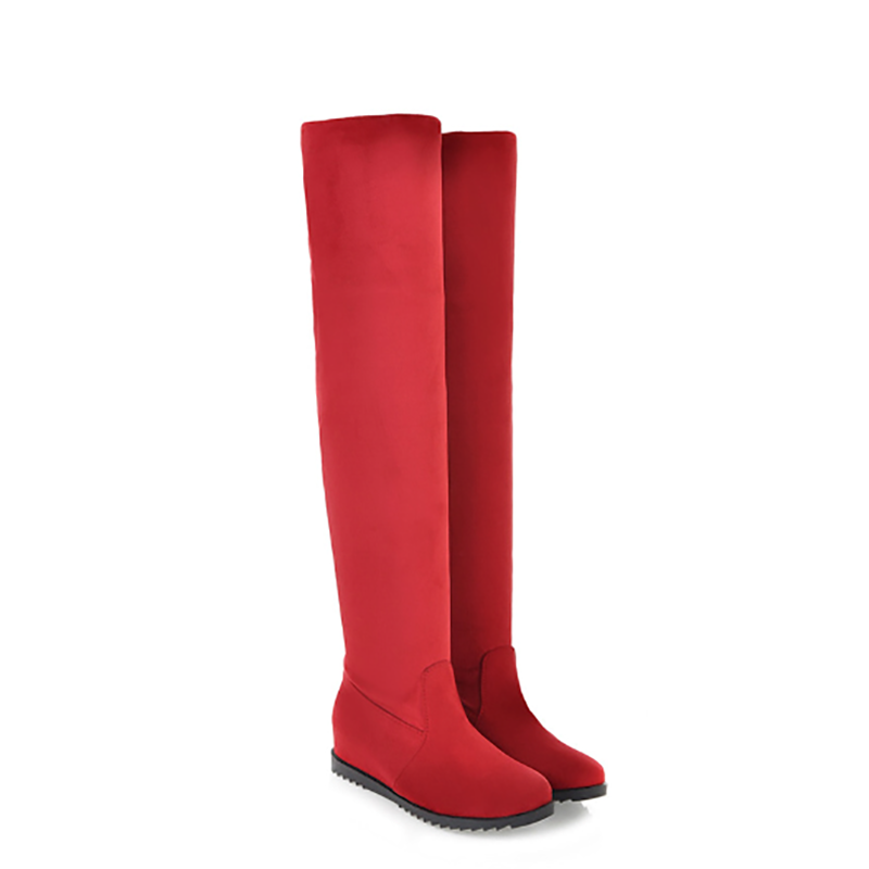 ФОТО Fashion Women Boots Round Toe Sexy Winter Stretch Warm Suede Side Zipper Over The Knee High Boots Women Nubuck Platform Boots