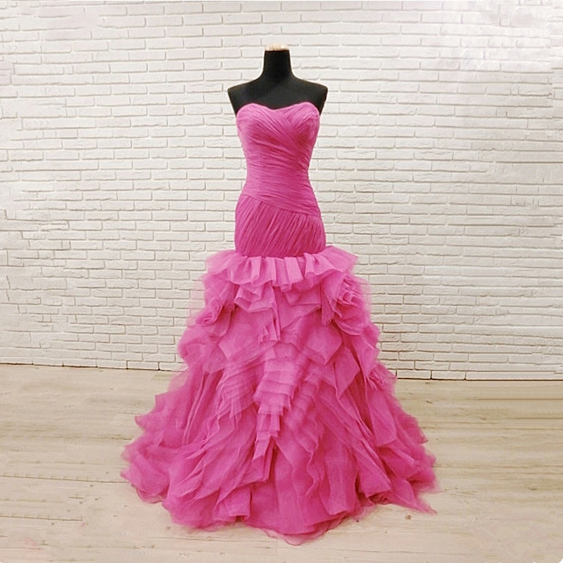 Dark pink Evening Dresses Long Mermaid sweetheart Pleat Tull Gown ...