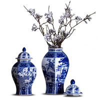 Chinese Classical Antique Handmade Blue And White Hexagon Porcelain Ginger Jar Hotel Villa Art Decorations