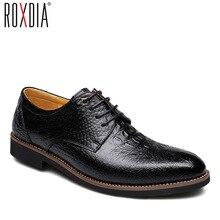 ROXDIA коровья спилок для мужчин туфли в деловом стиле Бизнес работы мужские повседневные оксфорды на плоской подошве RXM065 Размер 39-44