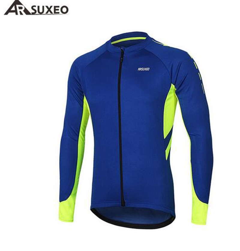 ARSUXEO Cycling Jersey Long Sleeve Full Zipper Summer Mens Sports Outdoor Bicycle Clothing MTB Road Bike Jerseys