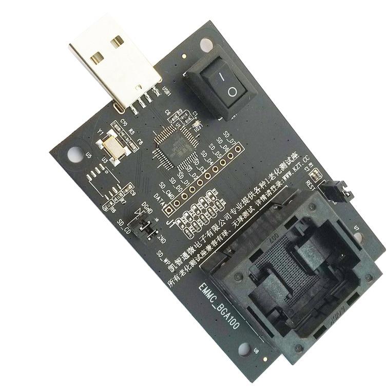 EMMC100 Socket USB Tectep BGA100 De Nand Flash Lector Programador EMMC Hembra EMMC Serie Adaptador EMMC Chips De Recuperación De Datos