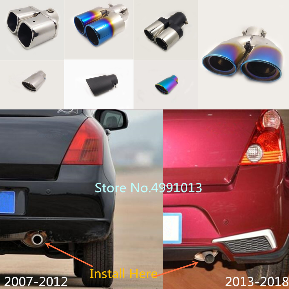 Car Back Cover Muffler End Tail Pipe Dedicate Outlet Exhaust For Suzuki Swift 2007 2008-2010 2011 2012 2013 2014 2015 2016-2018