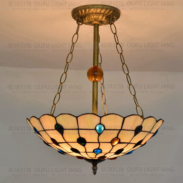 16inch Tiffany Baroque Stained Glass Suspended Luminaire E27 110-240V Chain Pendant lights for Home Parlor Dining bed Room 16inch Tiffany Baroque Stained Glass Suspended Luminaire E27 110-240V Chain Pendant lights for Home Parlor Dining bed Room