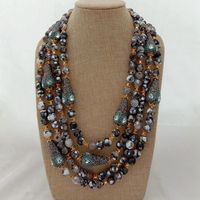 21'' 4Strands mixed Color Stone Black Crystal Pave Teardrop Necklace