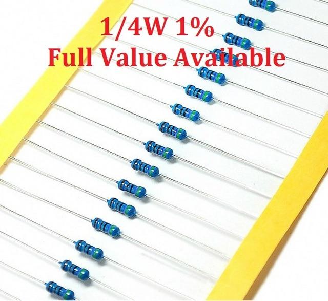 100 шт./лот 1/4 W 18 K/20 K/22 K/24 K/27 K Ohm Резистор на металлической пленке 1% 0,25 W резисторы 1/4 Вт лампа, функция управления цветовым кольцом металлическая пленка сопротивление
