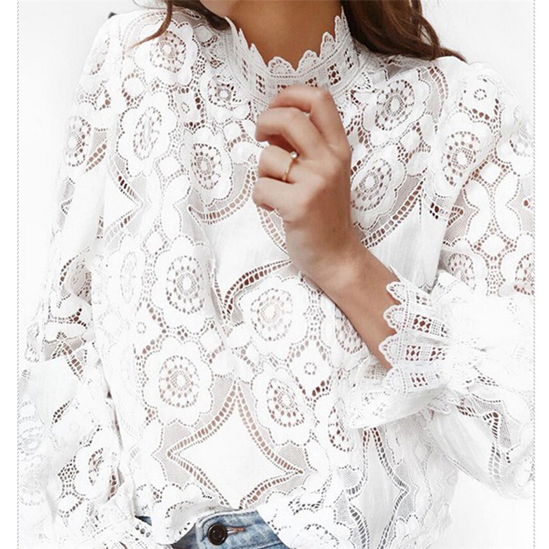 hirigin new fashion 2019 Womens Lace Crochet Flower Blouses Ladies Cotton Casual Loose Long Sleeve Shirts female Hallow Out Tops