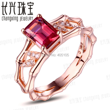 14k Rose Gold 1.24ct Pink Tourmaline Natural Diamond Engagement Ring Fine Jewelry