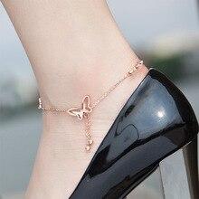 Нежный браслет на ногу с бабочкой розовое золото и Титан стальной браслет цепочка для женщин Девушка любовник босиком модная цепочка на ногу ювелирные изделия