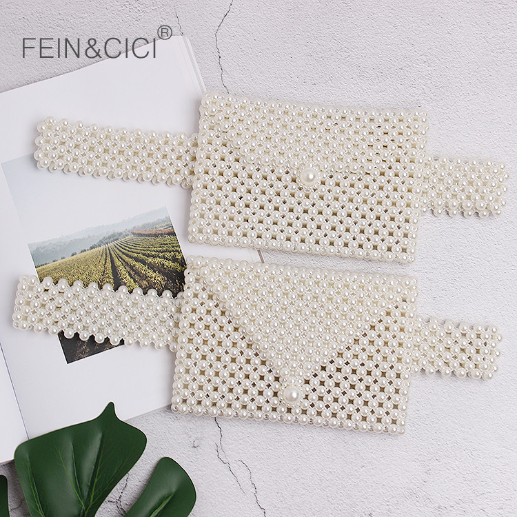 Beaded Pearl Bag Waist Belt Bag Women Fanny Pack Bags Brand Small Purse Handbag 2019 Summer New White