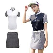PGM футболка для гольфа костюмы с юбкой одежда дамы летние шорты рукав для гольфа, тенниса Спортивная одежда костюм