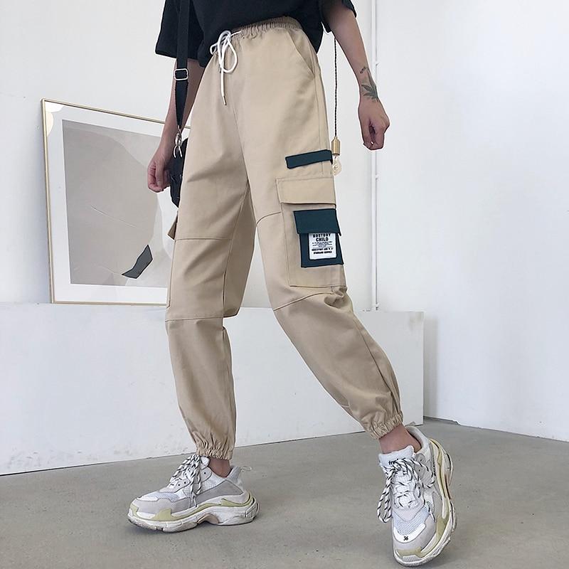 2019 Harajuku High Waist Cargo Pants Women Drawstring Pockets Harem Pants Korean Summer Sweatpants Trousers Pantalon Femme