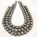 16 inches12-15mm Silver Natural Oval Large Freshwater Pearl Loose Strand