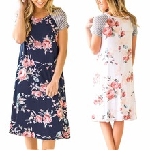 Summer new hot striped round neck casual loose sexy short-sleeved printed womens large dress