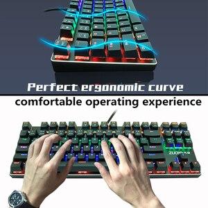 Image 5 - Oyun mekanik klavye 87key anti gölgelenme mavi kırmızı anahtarı arkadan aydınlatmalı klavye LED usb kablolu klavye oyun dizüstü bilgisayar