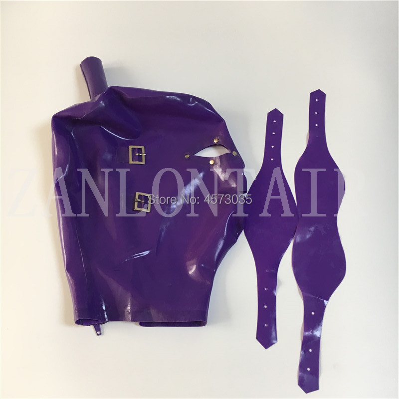 Exotic Sexy Purple Handmade Latex Hoods Mask With Eye Mouth Cover And Eye Rivets Top Wig Hole Tube Customize Size XS-XXL