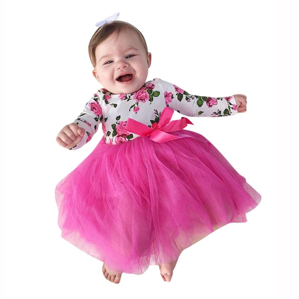 Kids Lace Dress Toddler Baby Girls Floral Princess Tutu Romper Dress Printing Bowknot Outfits Clothes Ropa Para Bebes Ninas@9227