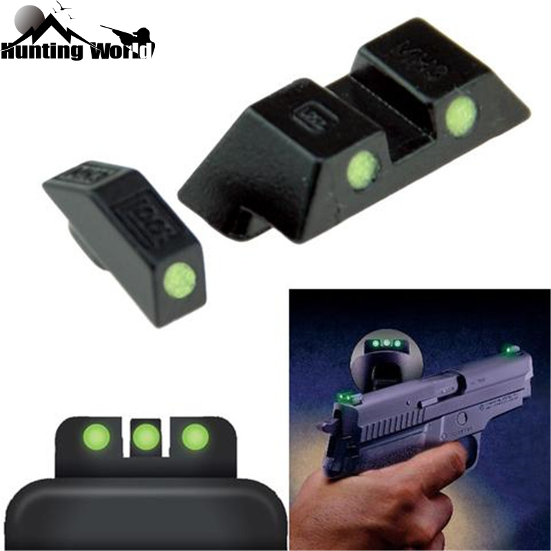 Tactical Green Glow-in-the-Dark Front Rear Night Sight For Pistol Handgun Glock 17, 19, 22, 23, 24, 26, 27, 33, 34, 35 Hunting