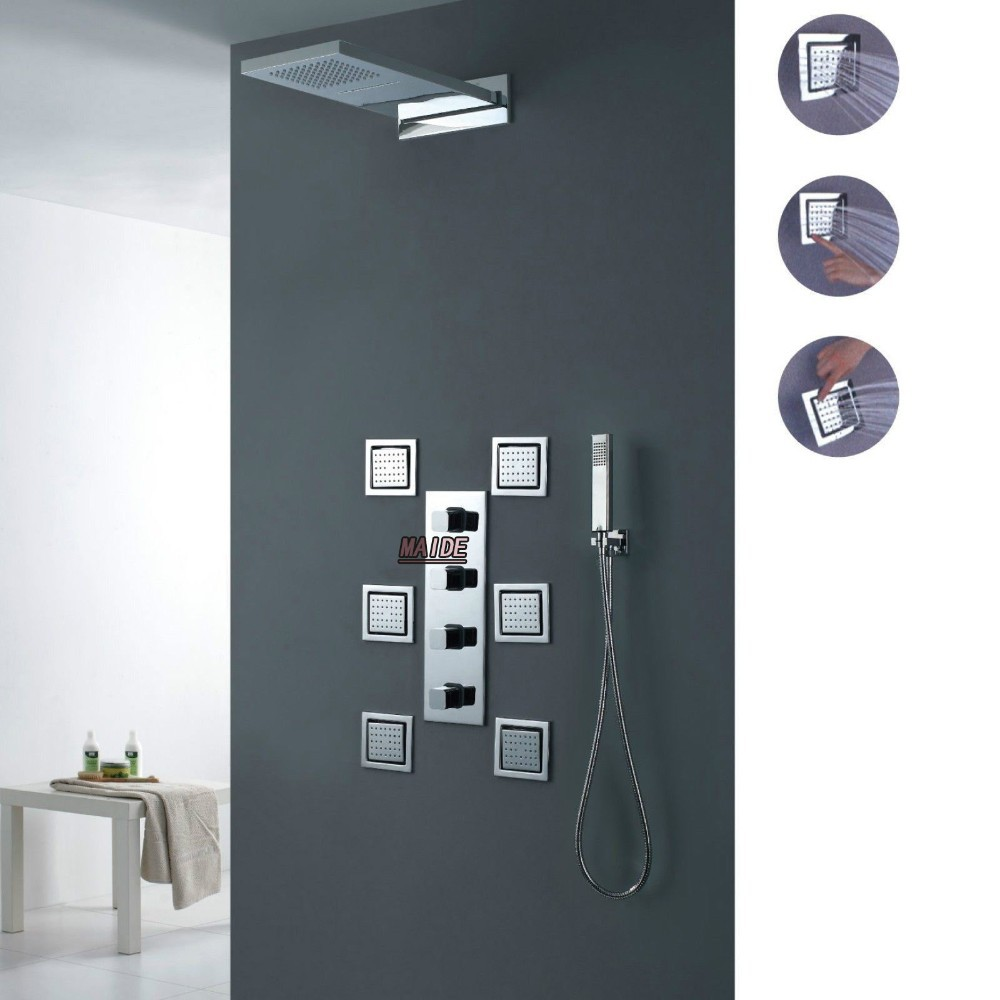 Waterfall Rain Shower System Six Body Jets Multifunction Valve Sets Mixer Mage Spray Jet Set