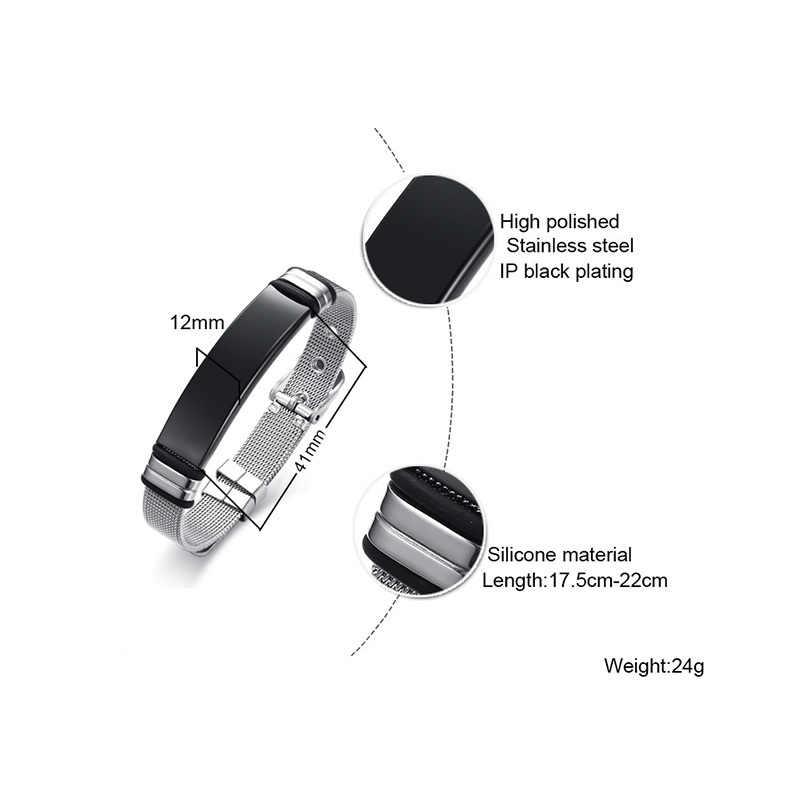 Meaeguet Personalized Bangle Men's Slide Mesh Bracelet Customized Name Wristband Stainless Steel Male Bileklik Pulseira