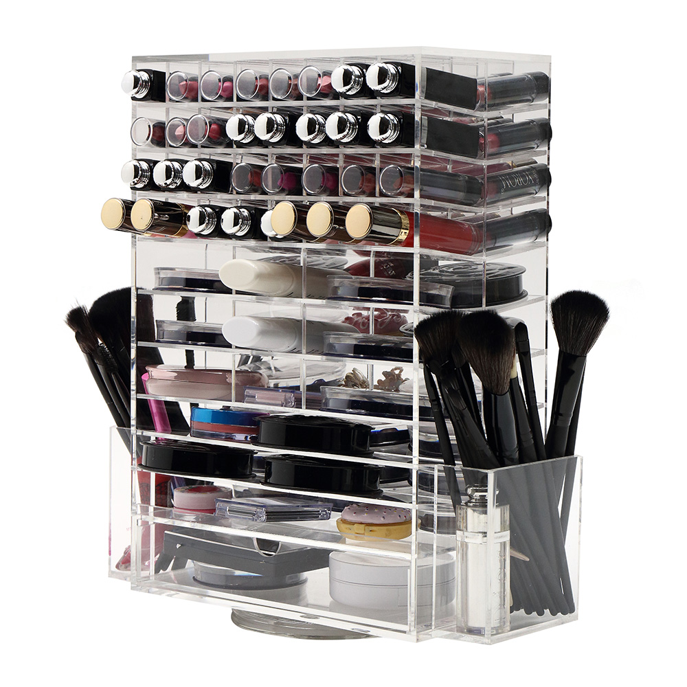 AILA 360 Degree Rotating Makeup Storage Box Lipstick Holder Nail Polish Rack Cosmetic Organizer Desktop Makeup Box ...